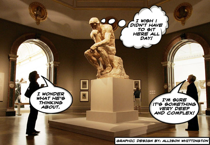 """The image shows two women looking at a statue. The statue is thinking """" I wish I didn't have to sit here all day"""" philosophy"""