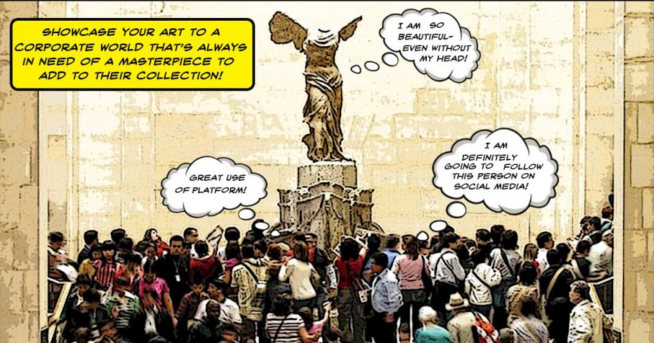 People in an art museum gather around the statue of Winged Venus.
