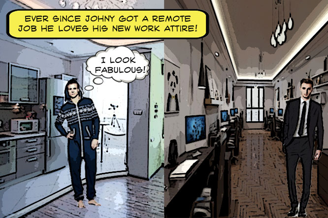 Comparison of remote jobs vs going into office. One man is in lounge attire while the other is dressed in a suit.