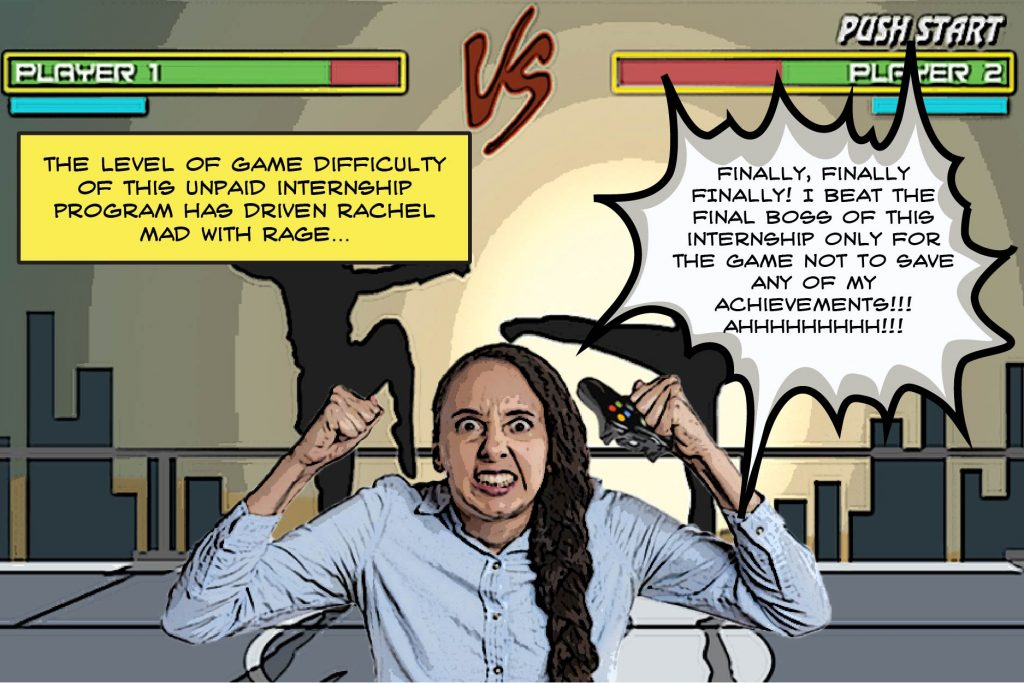 A girl game with long hair is enraged with the level of difficulty of her unpaid internship. She is squeezing the game controller as the silhouette of two fighters square off in martial arts poses with their respective health bars above their names and the backdrop silhouette of a city's skyline behind them.