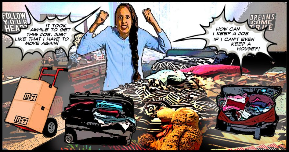 an angry woman is packing her possessions as she's moving again