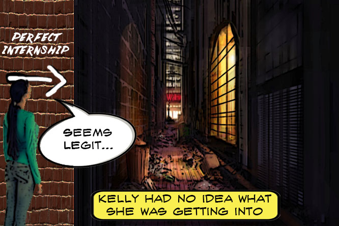 A girl looks into a dark alley. of internship horrors
