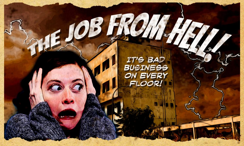 Woman Flees from building where she has a bad job.