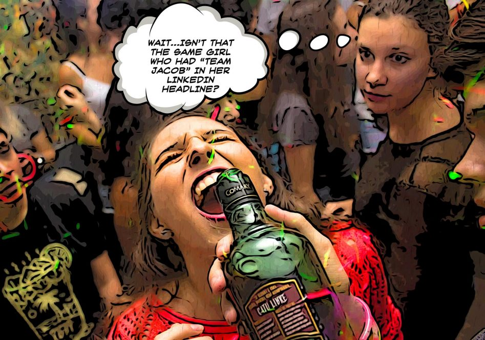 "A girl in a red sweater laughs as someone presses a green liquor bottle to her lips and pours liquor into her mouth. Another girl in the background looks at the drunk girl and has the thought, ""Wait, isn't that the same girl that had team Jacob in her headline?"""